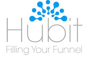 Hubit inverted light blue logo