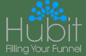 Hubit inverted light blue logo